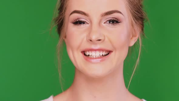 Thumbnail for Happy Woman Smiling on Green Chromakey