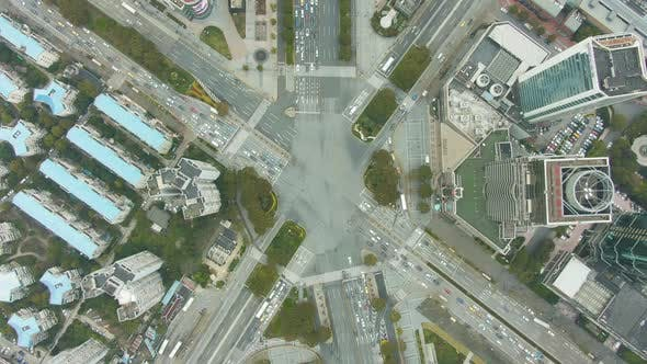 Thumbnail for Complex Road Crossing in Shanghai, China. Aerial Vertical Top-Down View
