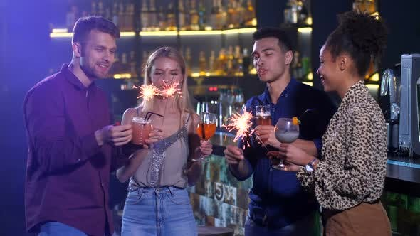 Cover Image for Good Friends Celebrating New Year's Holiday at Bar