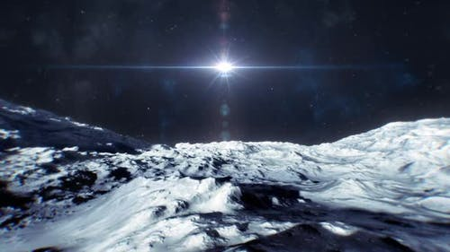 Bewegen Sie sich über die Oberfläche eines Mondes oder Asteriodes in Richtung eines Sterns