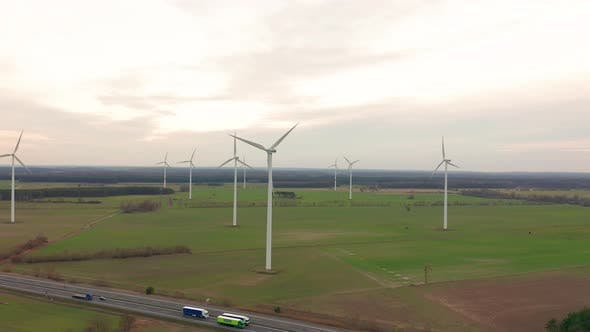 Thumbnail for Windmill Wind Power Technology - Aerial Drone View on Wind Power, Turbine, Windmill, Energy