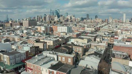 Aerial Drone Shot of Philadelphia Neighborhoods With Skyline in Background