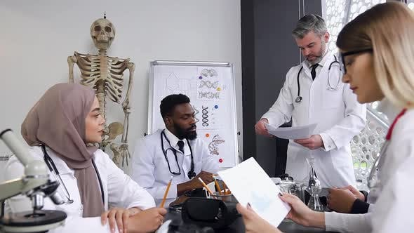 Doctors Working with Work Papers at Meeting while Discussing Something at Medical Office