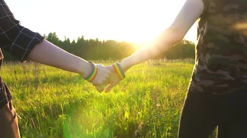 Two Girls Walking Hand in Hand on the Field at Sunset Sun LGBT Symbol