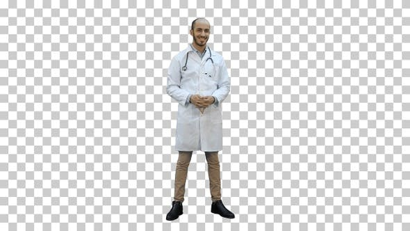 Thumbnail for Smiling doctor happily looking at the camera, Alpha Channel
