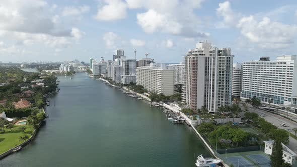 Drone Flyover Miami Beach buildings