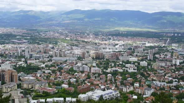 Cityscape View of Old Ottoman District and Capital Skopje, Macedonia