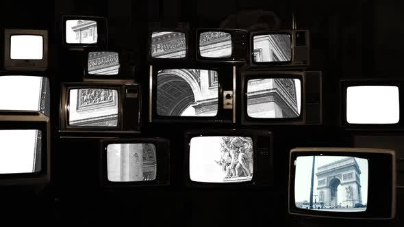 Thumbnail for Arc de Triomphe in Paris on a Stack of Retro Televisions. Sepia Tone.