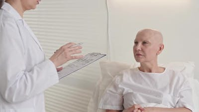 Mature Sick Woman Suffering Cancer