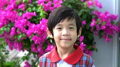 Close Up Of Asian Child Smiling Outdoor