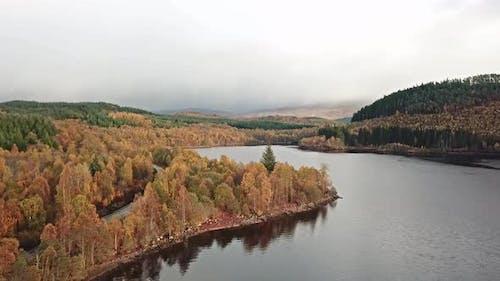 Flying Over Loch Garry in the Scottish Highlands, Scotland