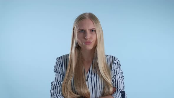 Thumbnail for Offended Blonde Woman Refusing To Do Something on Blue Background