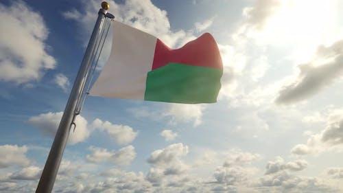 Madagascar Flag on a Flagpole - 4K