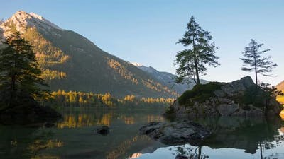 Dawn of the Mountain Forest Lake Hintersee