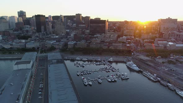 Thumbnail for Aerial view of Montreal, with the Old Port