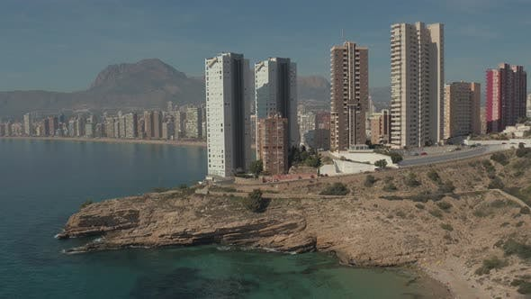Thumbnail for Aerial of skyscrapers on the Mediterranean coast
