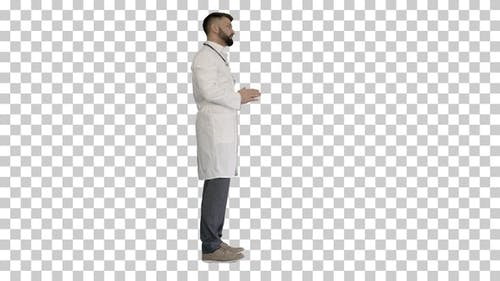 Confident doctor talking to someone, Alpha Channel