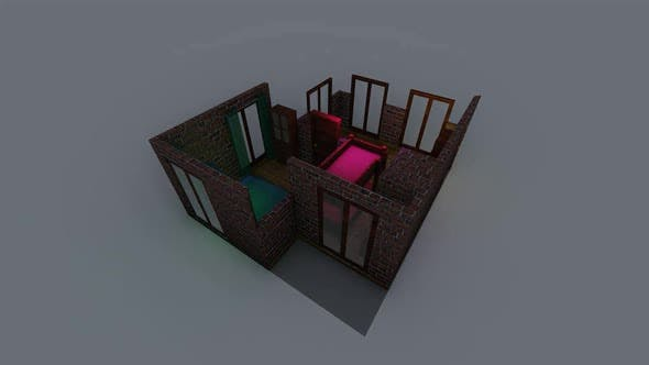 Isometric position of the bedroom