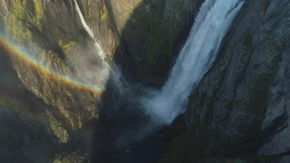 Thumbnail for Voringfossen Waterfall in Norway with Rainbow at Sunny Summer Day. Aerial View