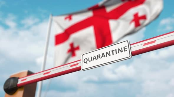 Thumbnail for Opening Barrier with QUARANTINE Sign at the Georgian Flag
