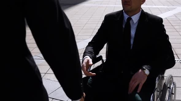 Thumbnail for Happy Entrepreneur Shaking Hands With Colleague Businessman Outdoor