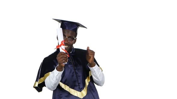 Thumbnail for College Graduate. Student with Diploma. White