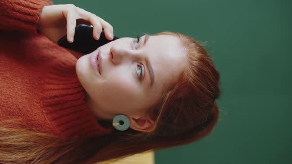 Thumbnail for Beautiful Redhead Woman Speaking on Phone