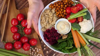 Rainbow Vegan Food, Healthy Nutrition Concept. Trendy Buddha Bowl.