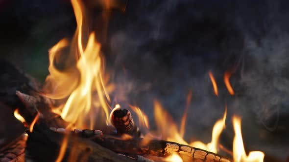 Thumbnail for Close up of a campfire