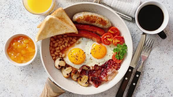 Thumbnail for Traditional Full English Breakfast on Frying Pan.