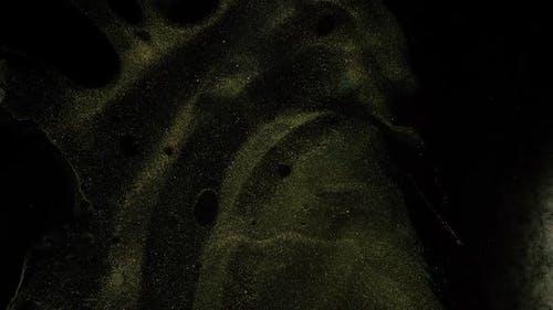 Fluid Art of resin. Dark glowing, shining transition, splash screen.