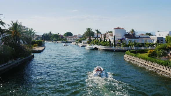 Thumbnail for Steadicam Shot: Channel with the Elite Real Estate. Empuriabrava, Spain, Catalonia. Floats Small