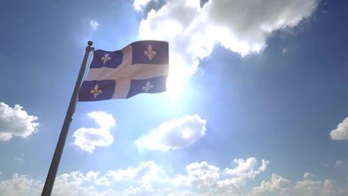 Quebec Flag on a Flagpole V4