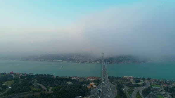Thumbnail for Istanbul Bosphorus Bridge Heavy Snowing 3 Aerial View