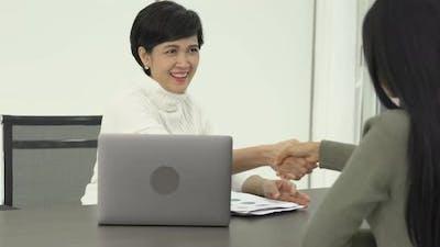 Businesswoman success interview