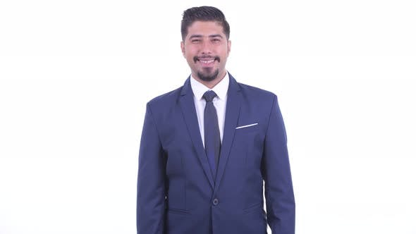 Happy Bearded Persian Businessman Smiling