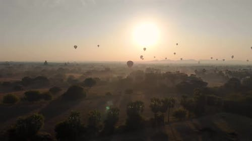 Aerial view of hot balloons in the Old Bagan temple site.