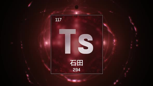 Thumbnail for Tennessine as Element 117 of the Periodic Table on Red Background in Chinese Language