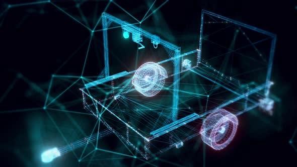 Trailer Lift Assembly Hologram Close Up 4k