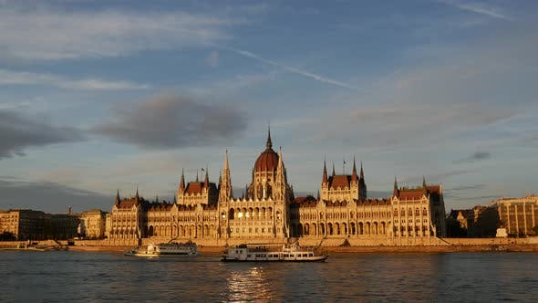 Thumbnail for Sunset with cruise ships and the Hungarian Parliament Building