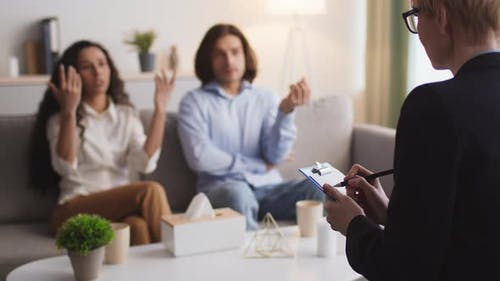 Emotional Married Couple Talking About Personal Problems and Claims During Family Consultation with