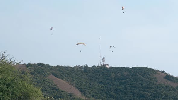 Tourists Experience Extreme Sport with Parachutes in Tropics