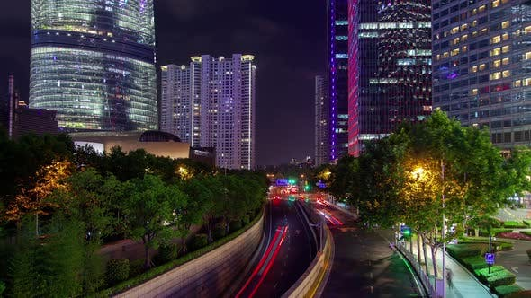 Thumbnail for Night Traffic on Pudong New Area Highway in China Timelapse