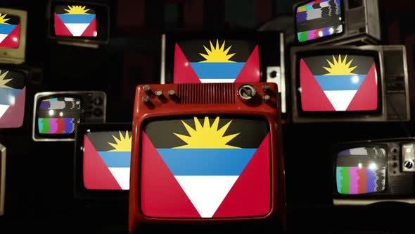 Antigua and Barbuda flags on Retro TV Stack.
