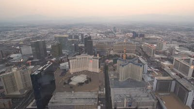 Las Vegas, USA, Video  - Aerial View of Downtown Las Vegas at Sunset