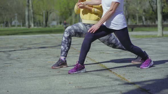 Thumbnail for Two Female Legs Making High Lunge Exercise, Changing Legs