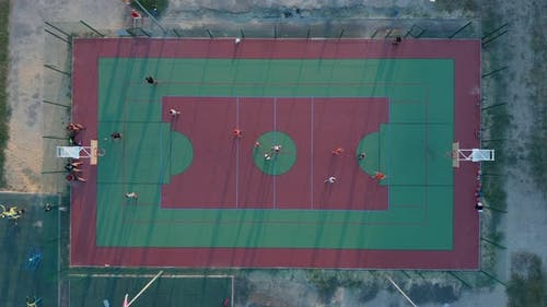 Aerial View. Park with a Basketball Field and a Training Platform. Sports Area