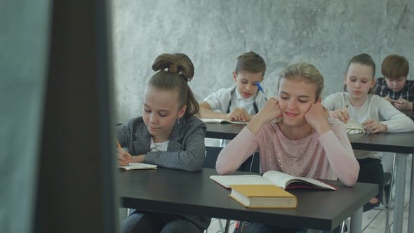 Thumbnail for Unhappy schoolgirl in class listen to a teacher