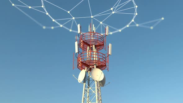 Thumbnail for Telecommuncations Cellular Tower with Some Plexus Network Connections Graphics
