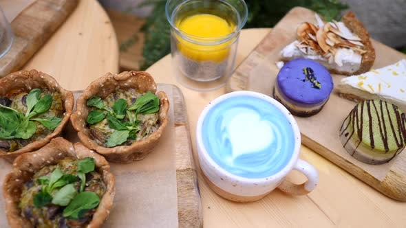 Thumbnail for Healthy Vegan Diet. Mushroom Quiche, Chia Pudding, Cakes And Blue Matcha Latte